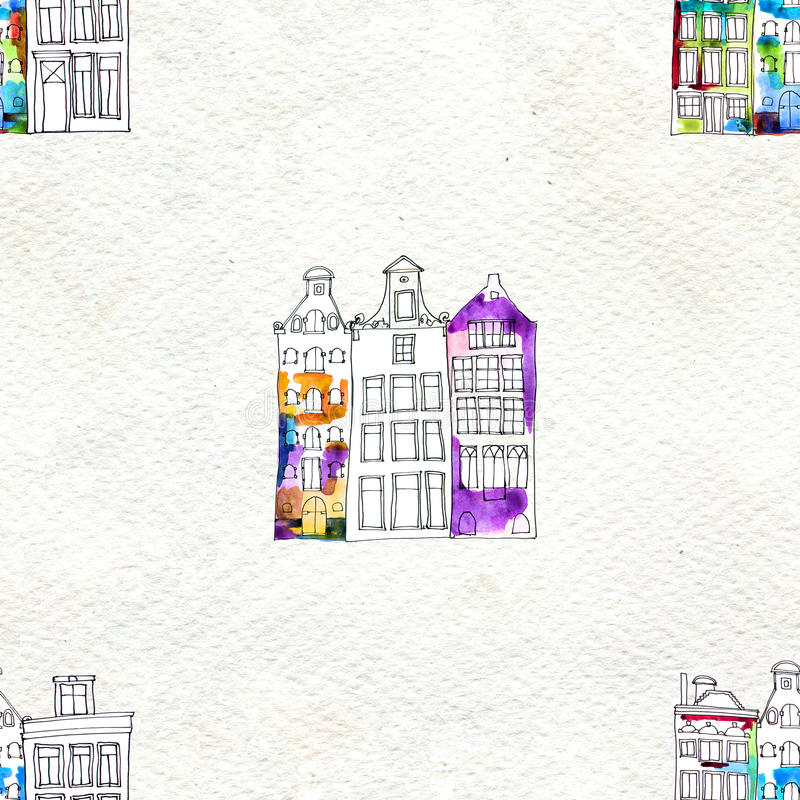 Nahtlose Muster eith Aquarell Amsterdam-Häuser lizenzfreie abbildung