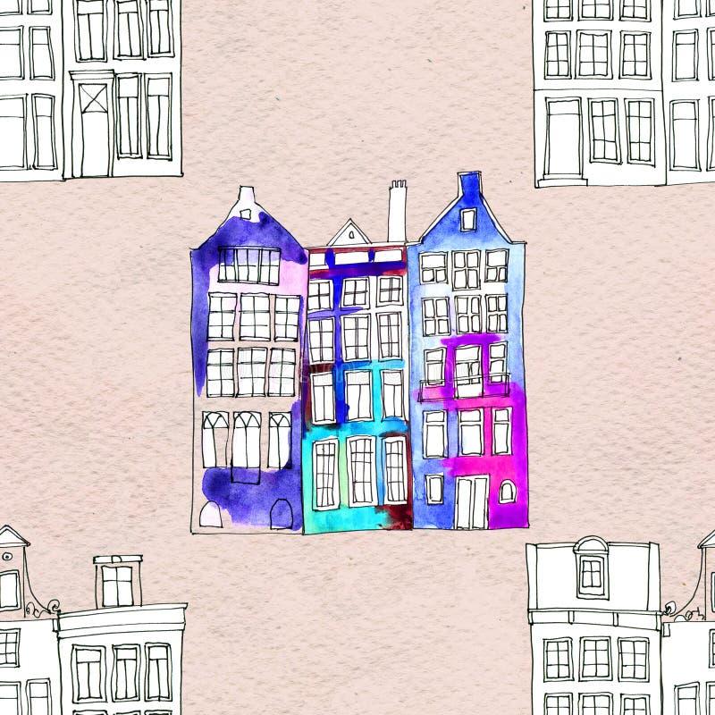 Nahtlose Muster eith Aquarell Amsterdam-Häuser stock abbildung