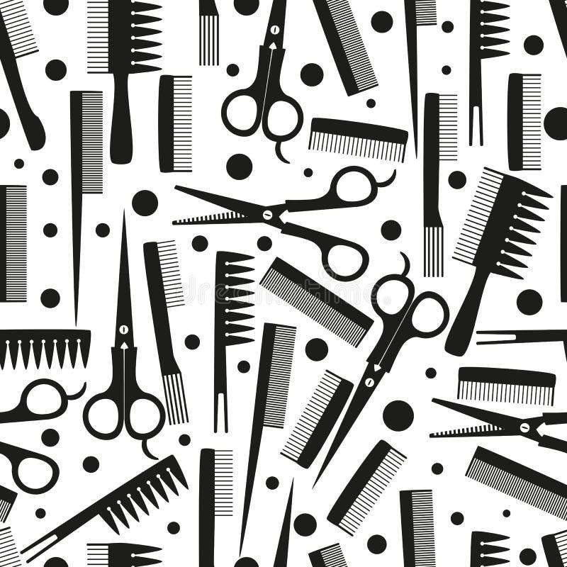 Nahtlose Muster für Friseur-, Kamm- und Schere mit schwarzer Füllung , Vektorgrafik lizenzfreie abbildung