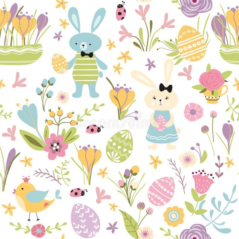 Nahtlose Muster glückliche Ostern-Handentspringen gezogene nette Vektorillustration mit Häscheneiern Blumenvogel auf Weiß stock abbildung