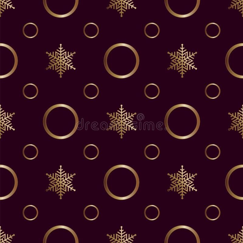 Nahtlose Muster Gold-Ornament auf braunem Hintergrund Frohe Weihnachten und Happy New Yea 49 lizenzfreie abbildung
