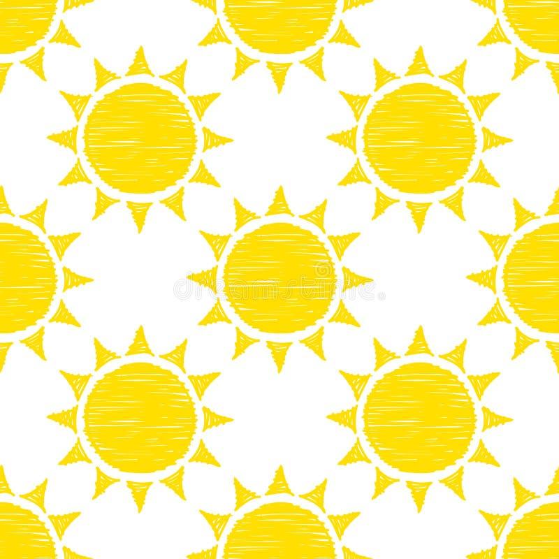Nahtlose Muster-Grafik-gelbe Handgezogene Sonnen lizenzfreie abbildung