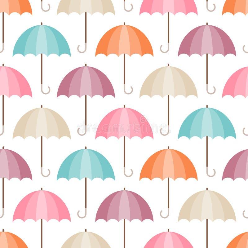 Nahtlose Muster-grafische Regenschirm-verschiedene Retro- Farben lizenzfreie abbildung