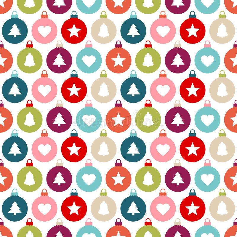 Nahtlose Muster-grafische Weihnachtsball-unterschiedliche Ikonen-Farbe vektor abbildung