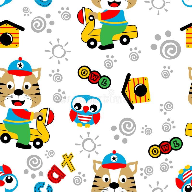 Nahtlose Muster-, Katzen- und Eulenlustige Tierkarikatur, Vektorillustration lizenzfreie abbildung