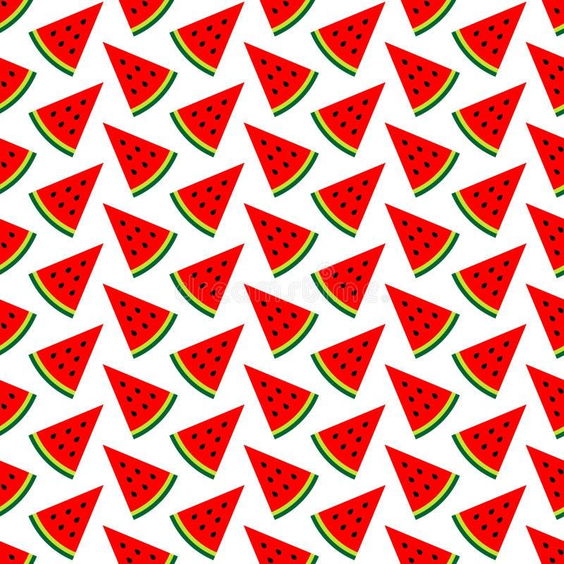 Nahtlose Muster-Melonen-Stück-rotes grünes Schwarzes stock abbildung