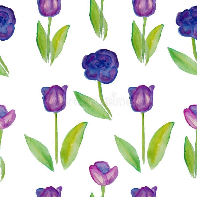 Nahtlose Muster mit Blumentulpen (violette Blumen mit grünen Blättern) stock abbildung