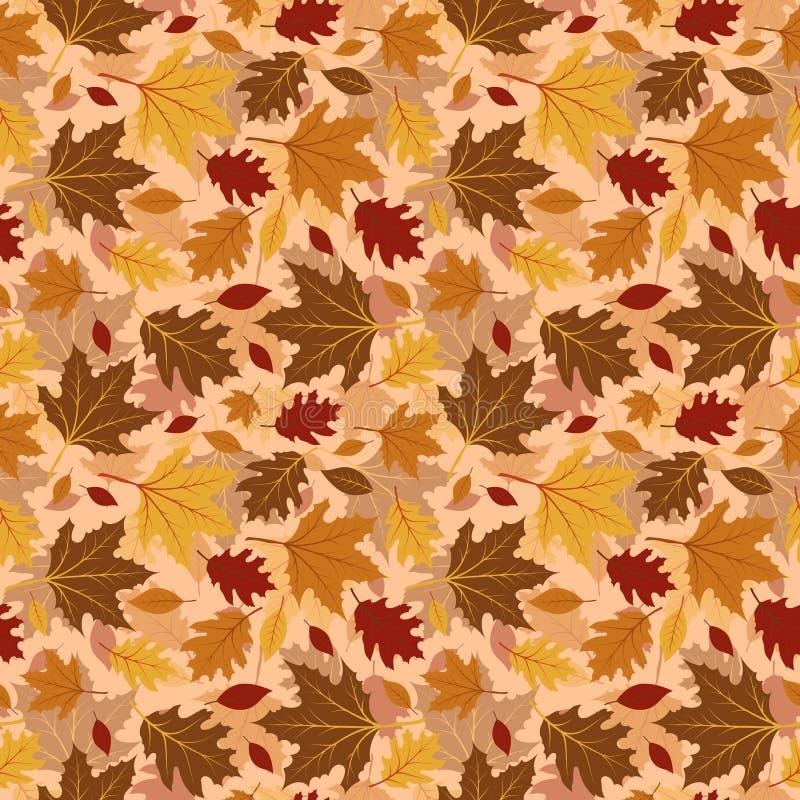 Nahtlose Muster mit Herbstlaub vektor abbildung