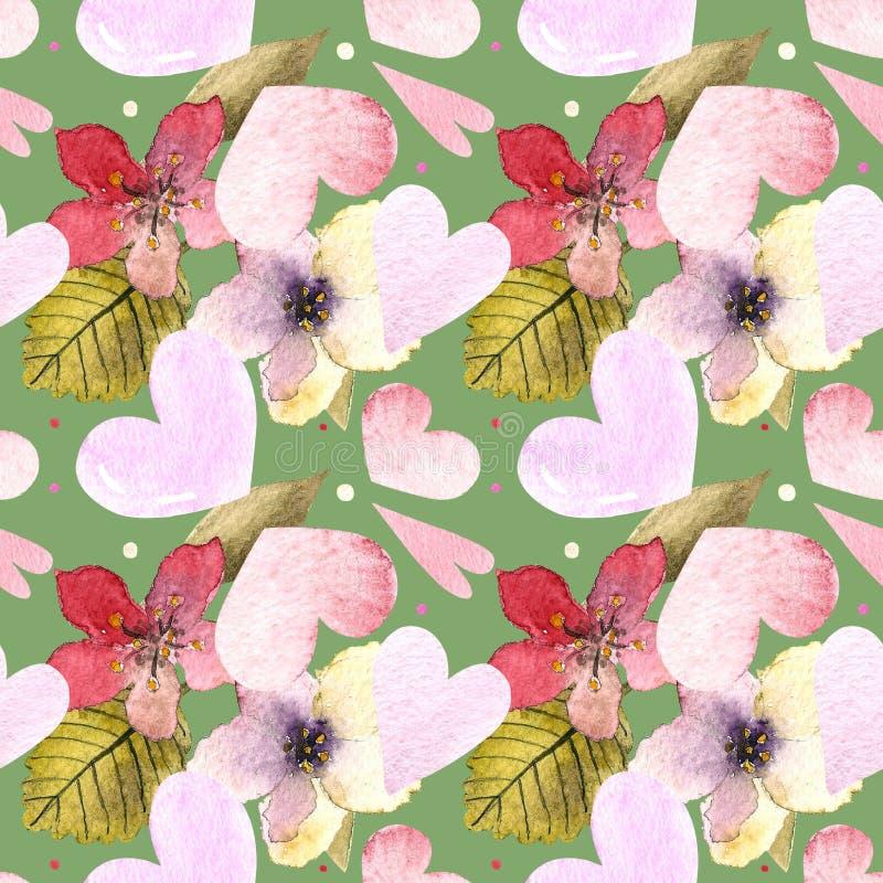 Nahtlose Muster mit Herz, Blumen, Blättern auf grünem Hintergrund Wasserfarben Illustration lizenzfreies stockfoto