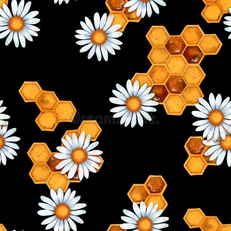Nahtlose Muster mit Kamille und Honigwaben stock abbildung