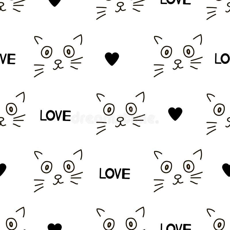 Nahtlose Muster mit Katzengesichtern, -herzen und -wörtern lieben stock abbildung