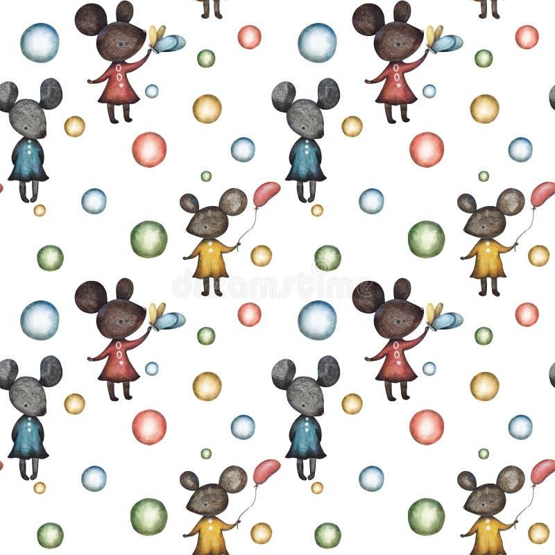 Nahtlose Muster mit Mäusen und Kugeln lizenzfreie abbildung