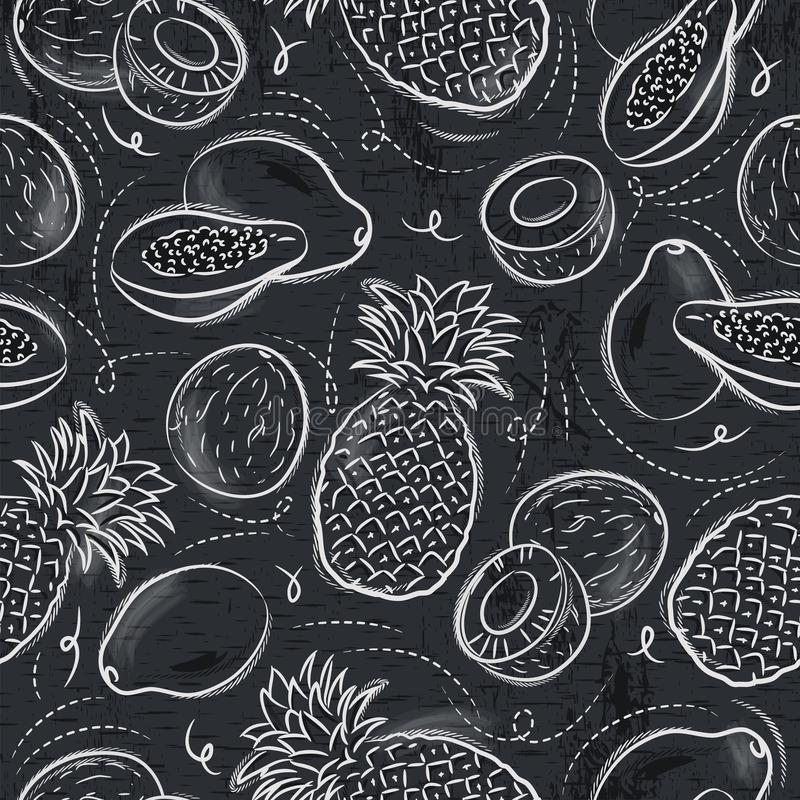 Nahtlose Muster mit Papaya, Kokosnuss und Ananas auf Schmutz b lizenzfreie abbildung