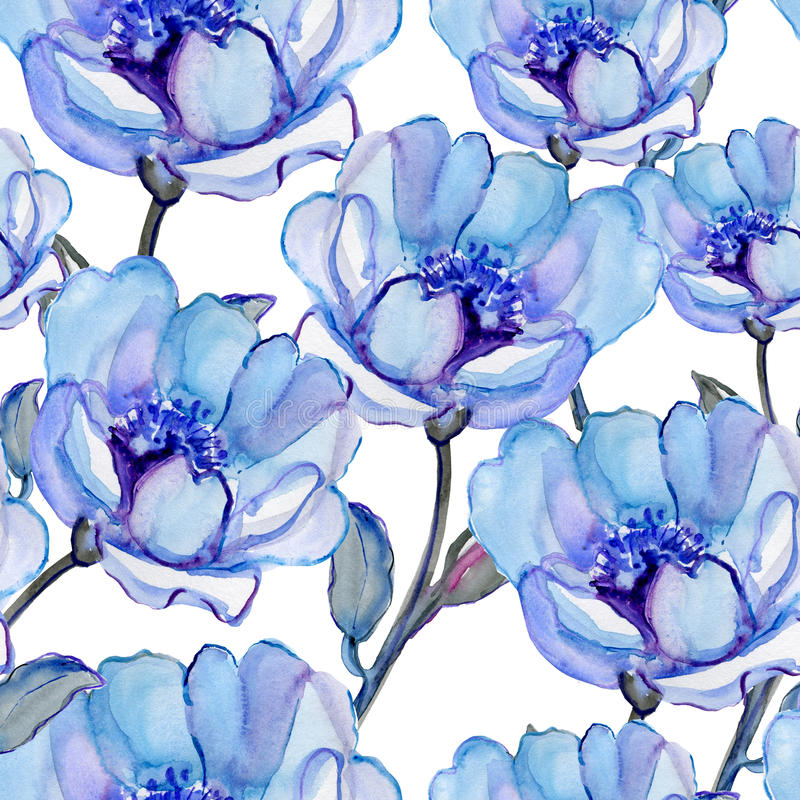 Nahtlose Muster mit schönen Blumen lizenzfreie abbildung