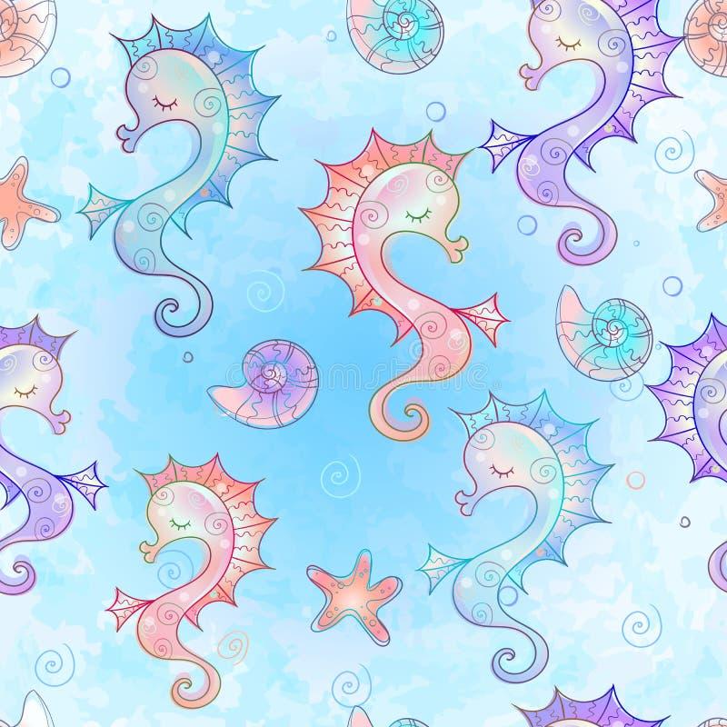 Nahtlose Muster mit Seepferdchen Unterwasserwelt Wasserfarbe Vector stock abbildung