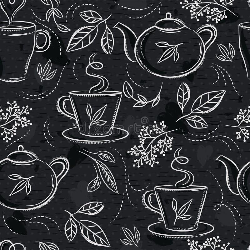 Nahtlose Muster mit Teesatz, Schale, Teekanne, Bl?ttern, Blume und Text auf Tafel Hintergrund mit Teesatz Ideal f?r den Druck von stock abbildung