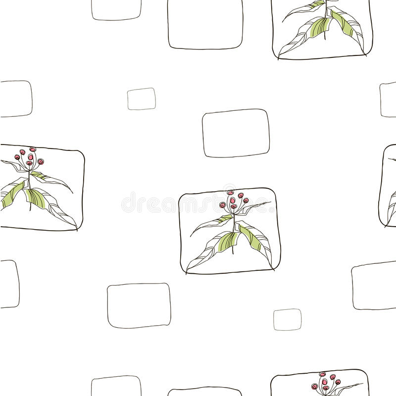 Nahtlose Muster mit vegetativen Elementen Auch im corel abgehobenen Betrag stock abbildung