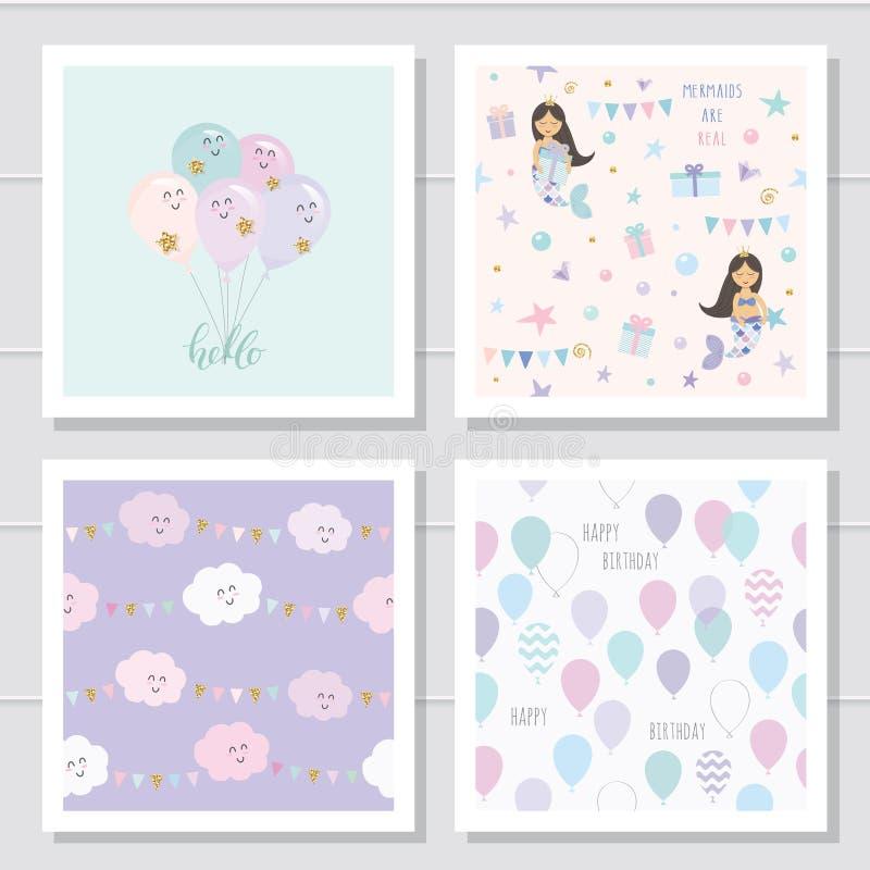 Nahtlose Muster und Schablonen der netten Karikatur eingestellt Für Kinderkleidung, Pyjamas, Geburtstag oder Babypartydesign vektor abbildung