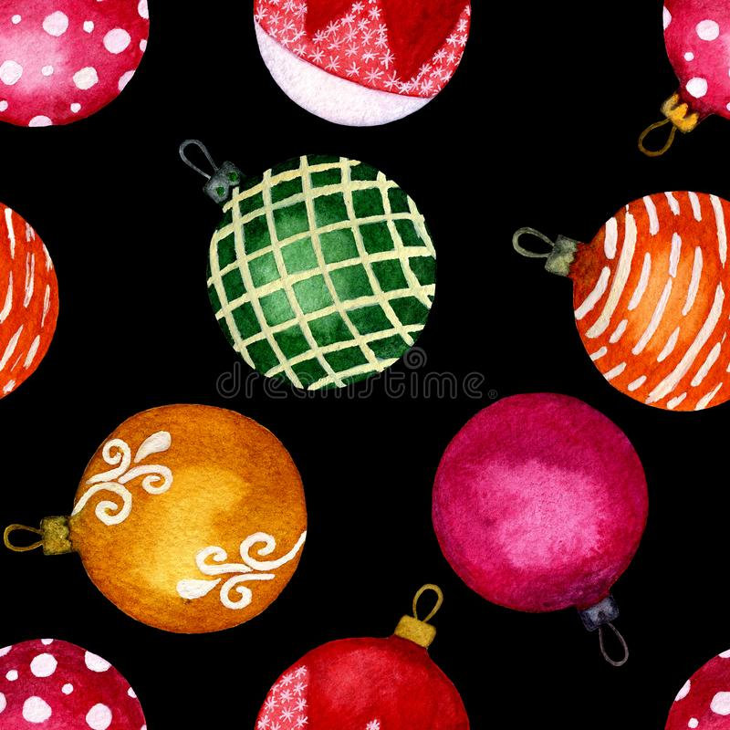 Nahtlose Muster Watercolour Weihnachtsbälle auf schwarzem Hintergrund Vervollkommnen Sie für Hintergründe, Beschaffenheiten, Pack lizenzfreie abbildung