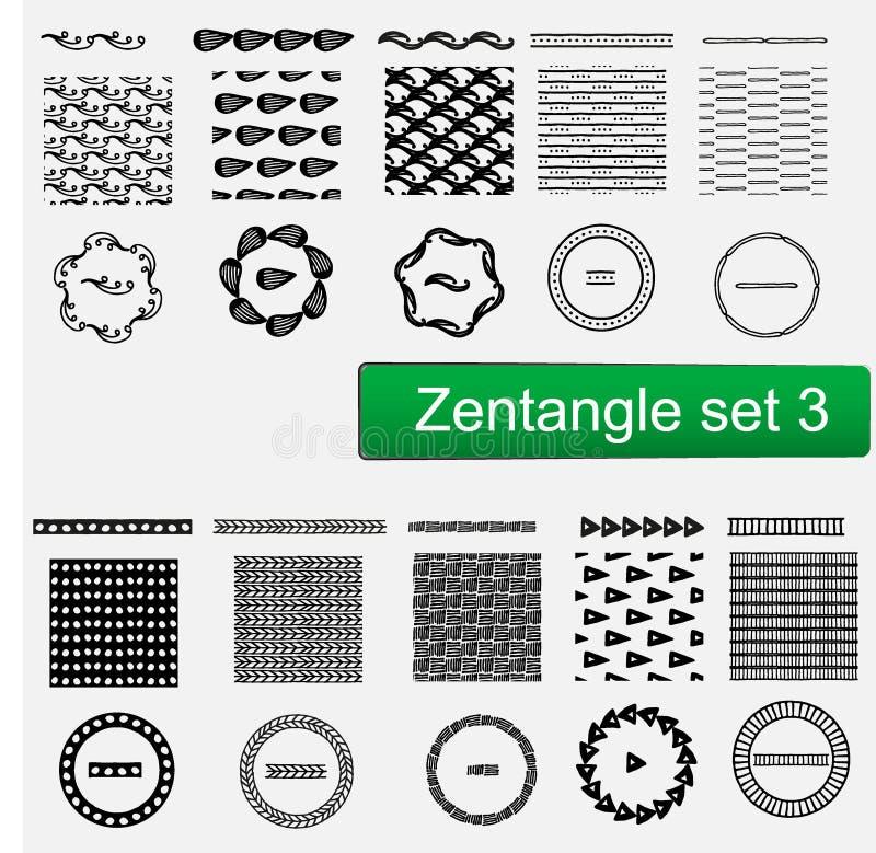 Nahtlose Muster Zentangle-Vektors Und Bürstensatz, Hand Gezeichneter ...