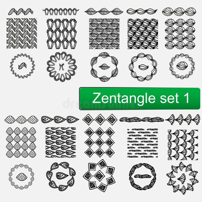 Nahtlose Muster Zentangle-Vektors Und Bürstensatz 1, Hand ...