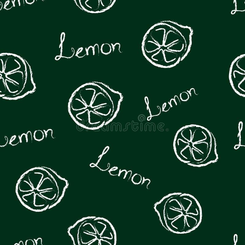 Nahtlose Muster-Zitrone und die Wort-Zitrone stock abbildung