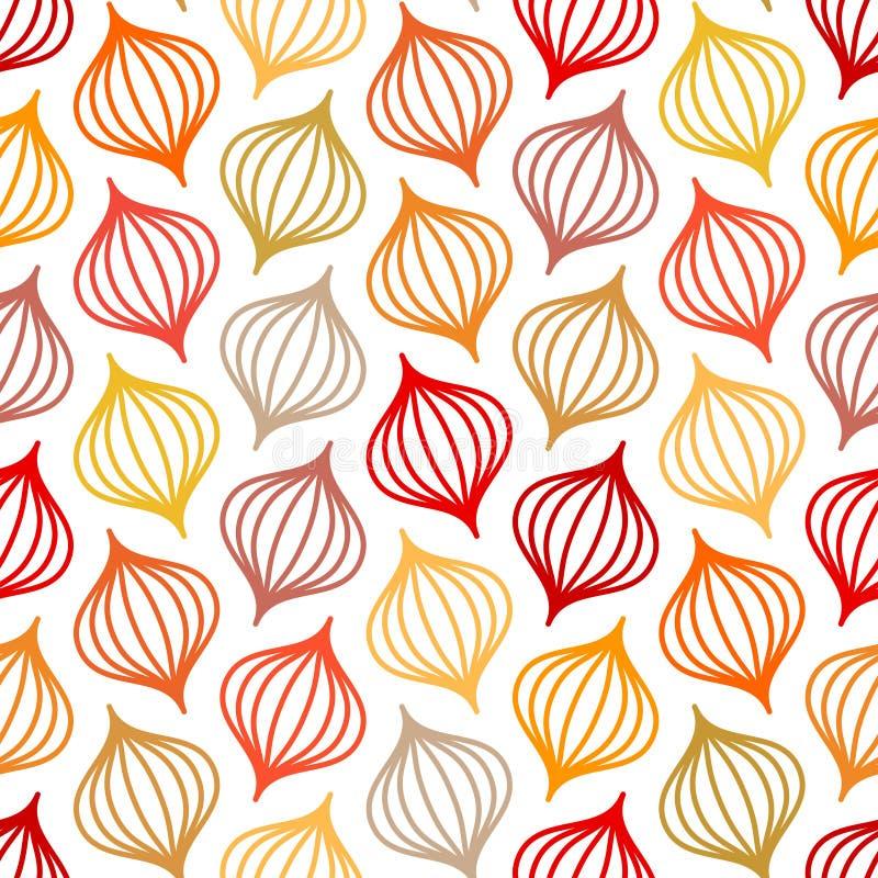 Nahtlose Muster-Zusammenfassungs-Zwiebel-Linien Autumn Colors lizenzfreie abbildung