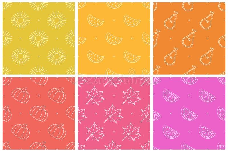 Nahtlose Musteransammlung Farbvektor-Hintergrundsatz Fruchtbeschaffenheitsgruppe Sun, Blatt, Wassermelone, Birne, Tangerine, Oran lizenzfreie abbildung