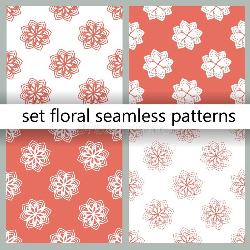Nahtlose Musteransammlung Modisches Muster mit korallenroten floristischen Mustern für Fahnenentwurf Schöner Blumenhintergrund Ge stock abbildung