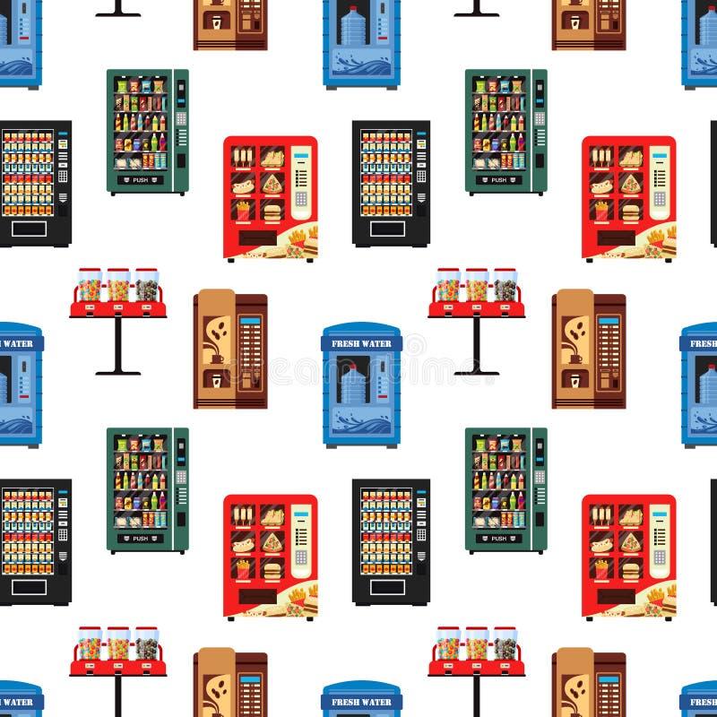 Nahtlose Musterautomaten voll von den Produkten, Zufuhrsammlung mit dem Wassersüßigkeitszigaretten-Imbisskaffee heiß vektor abbildung
