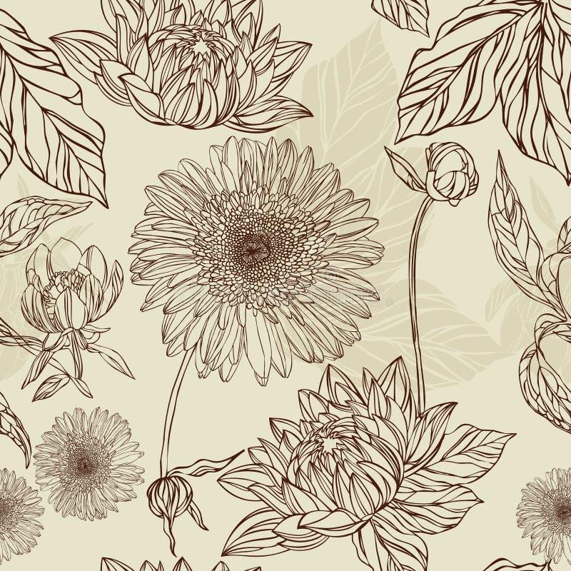 Nahtlose Musterblume und -blatt in der Retro- Art lizenzfreie abbildung