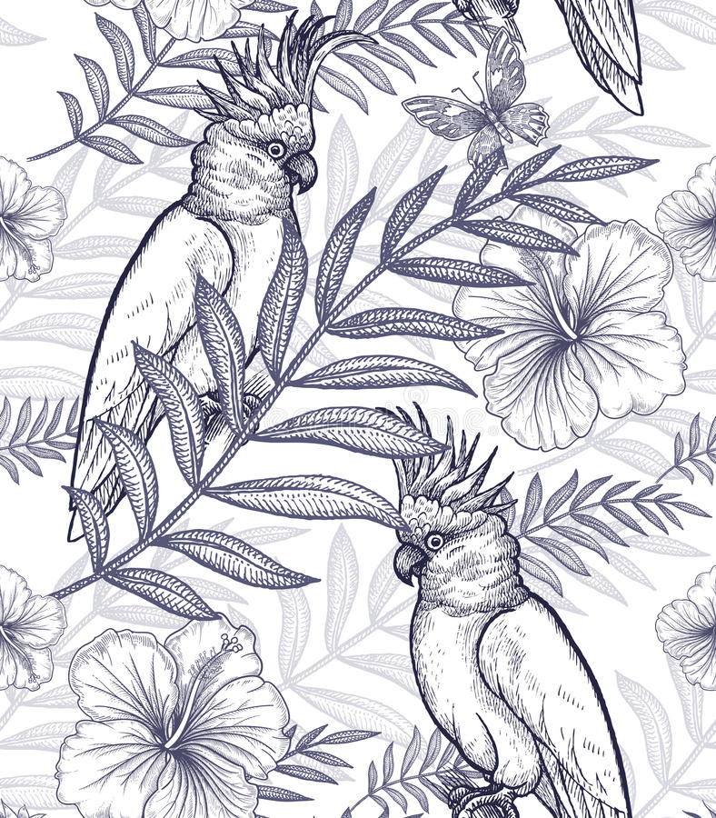 Nahtlose Musterblumen und -papageien lizenzfreie abbildung