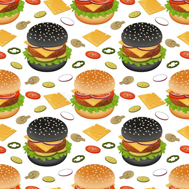 Nahtlose Musterburger und -bestandteile auf Weiß stock abbildung