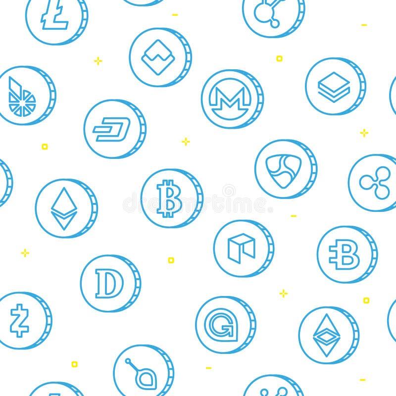 Nahtlose Musterentwurfszeichnung verschiedener cryptocurrency Symbole vektor abbildung