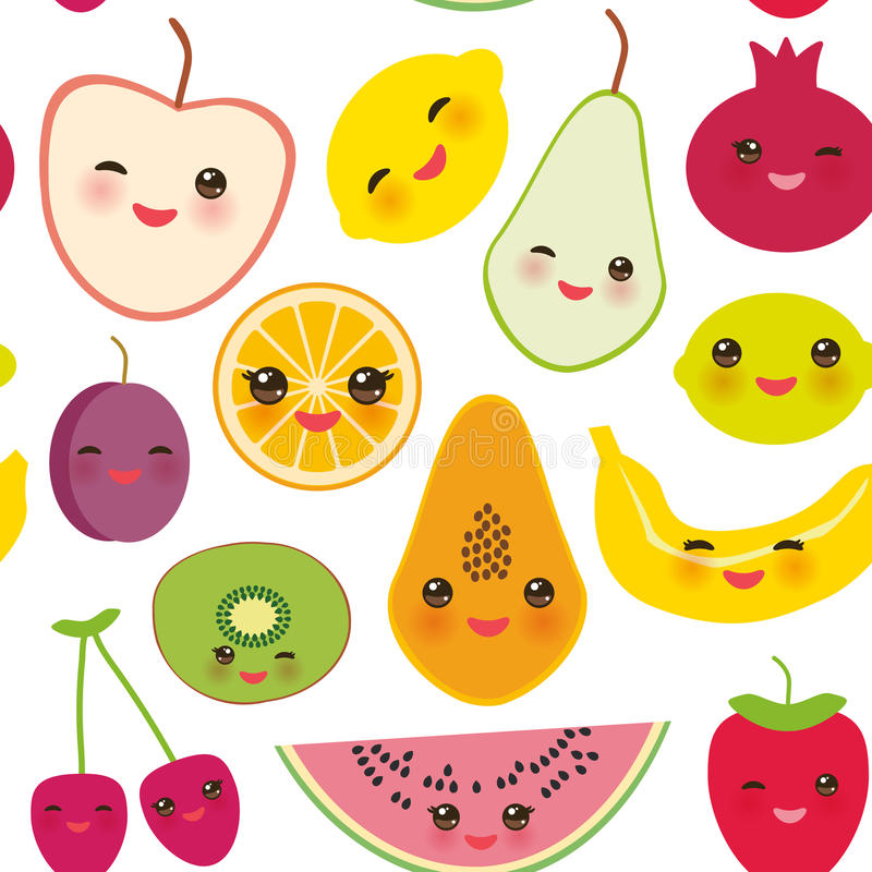 Nahtlose Mustererdbeere, Orange, Bananenkirsche, Kalk, Zitrone, Kiwi, Pflaumen, Äpfel, Wassermelone, Granatapfel, Papaya, Birne,  vektor abbildung