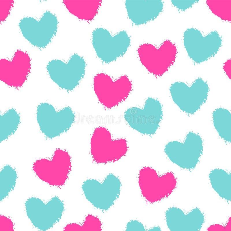 Nahtlose Musterfarbe malte Herzen stock abbildung