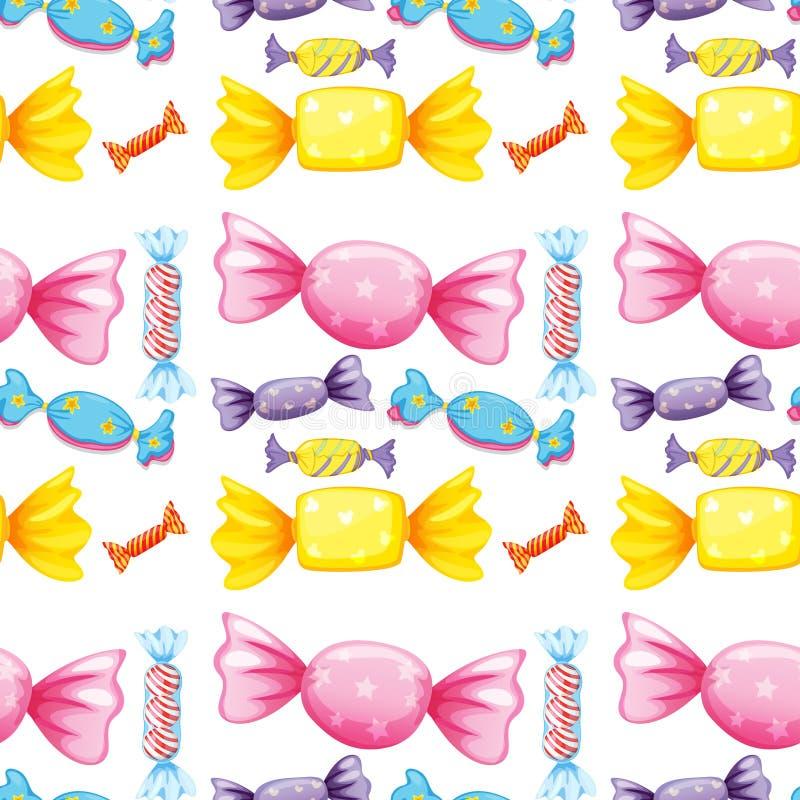 Nahtlose Musterfliesenkarikatur mit Süßigkeit lizenzfreie abbildung