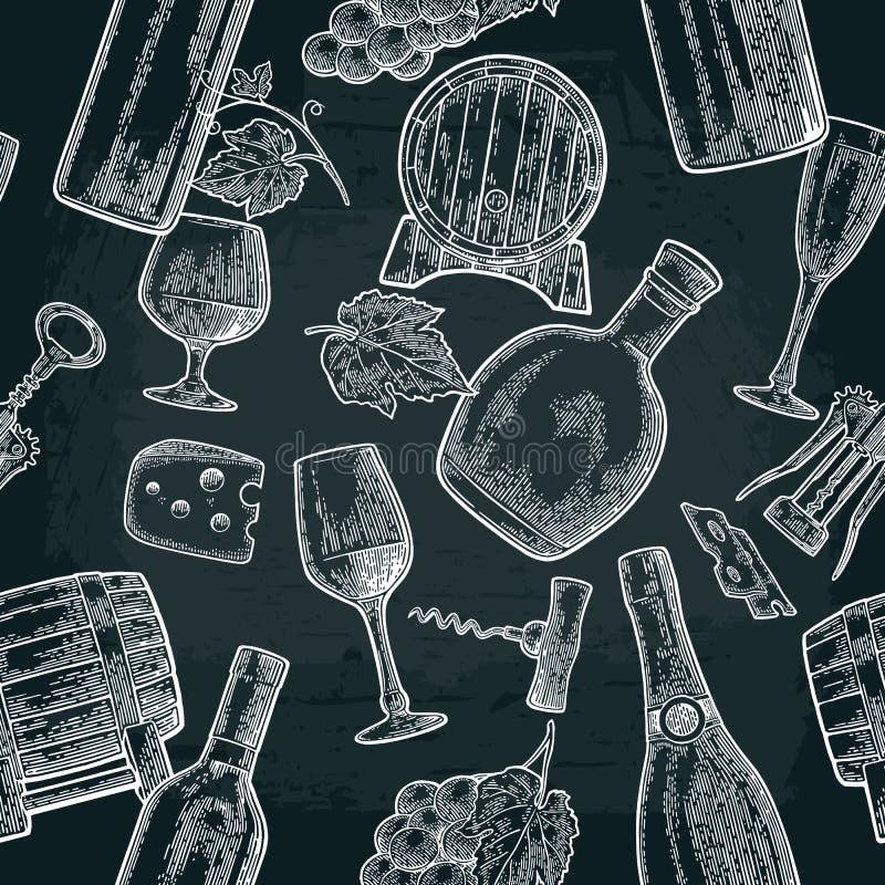 Nahtlose Mustergetränke gemacht von den Trauben Wein, Weinbrand, Weinflasche, Glas lizenzfreie abbildung
