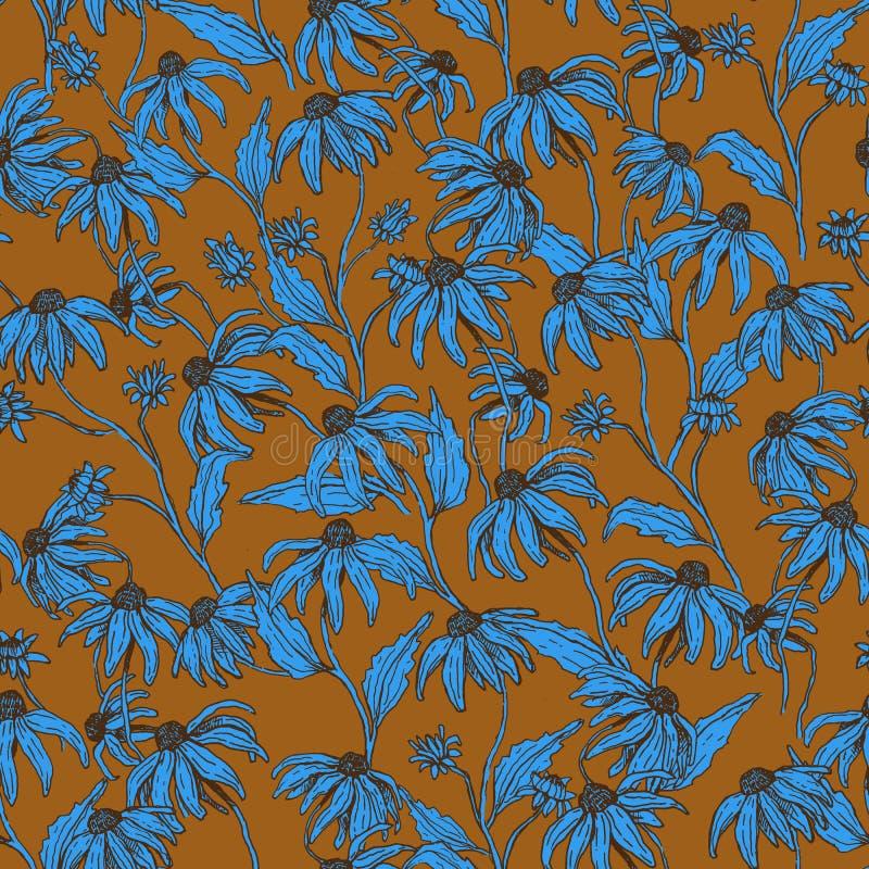 Nahtlose Musterherbstblumen stockfotografie