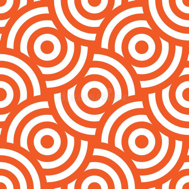 Nahtlose Musterhintergrundverzierung von gestreiften konzentrischen Kreisen Retro- Mosaik von Bögen in Orange und in weißem Vekto lizenzfreie abbildung