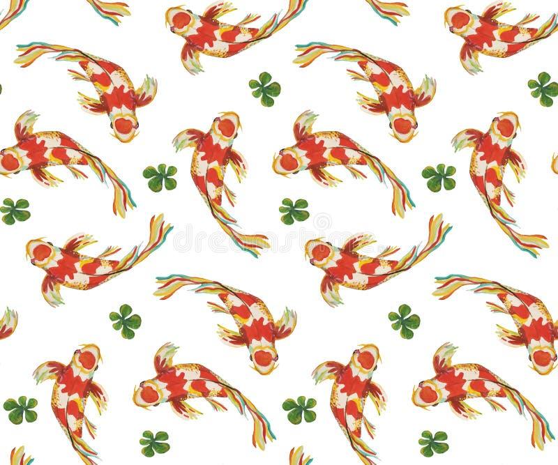 Nahtlose Musterjapaner-Fischkarpfen, die in den verschiedenen Richtungen um Grünalgen schwimmen lizenzfreie abbildung