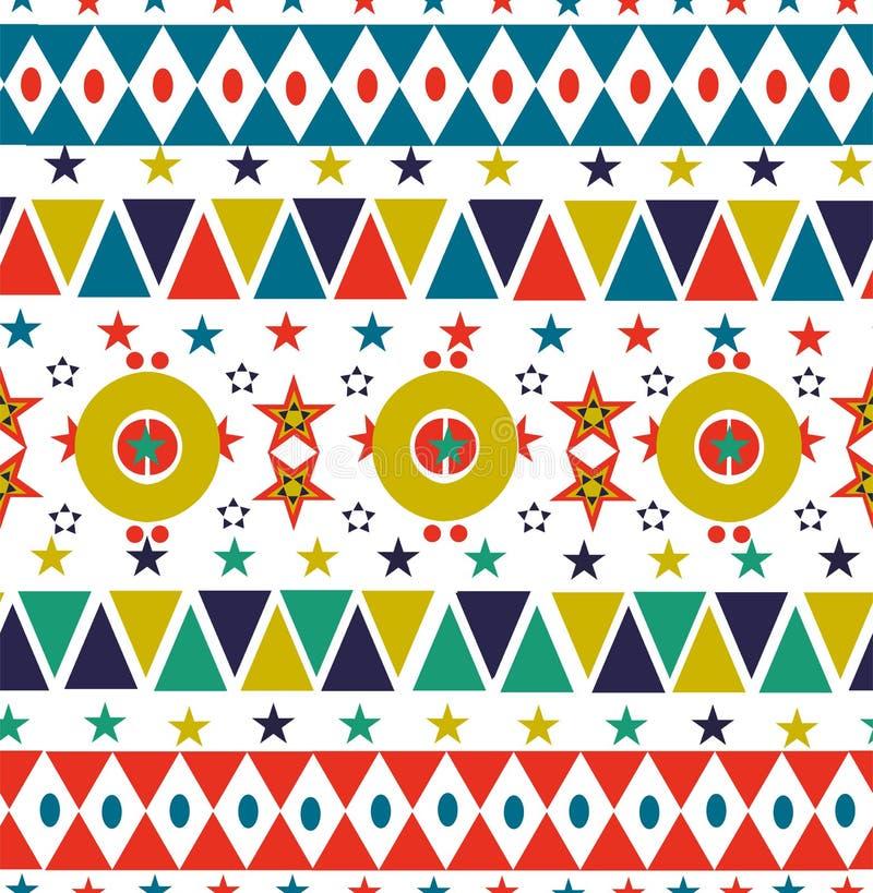 Nahtlose Musterkunst des Weihnachtsretro- Volksfeiertags vektor abbildung