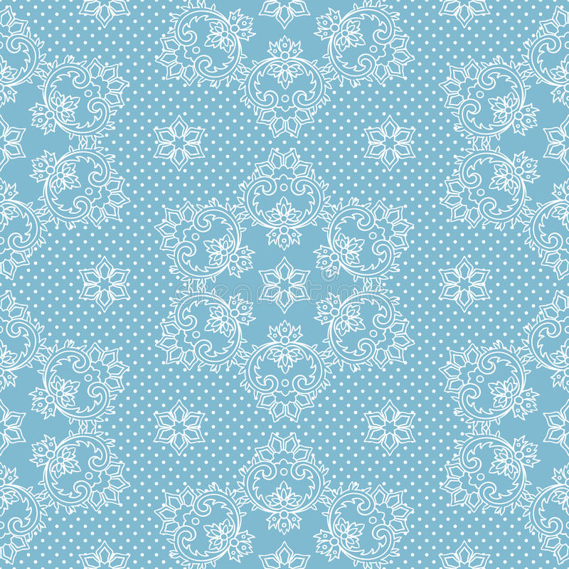 Nahtlose Musterschneeflocken und -Tupfen auf blauem Hintergrundvektor Weihnachtsspitzegewebe oder Packpapierdesignillustration vektor abbildung