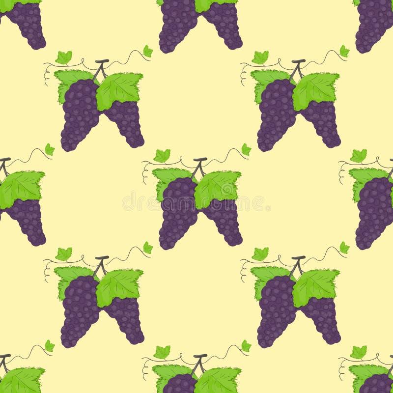 Nahtlose Musterweintrauben und Grünblätter stock abbildung