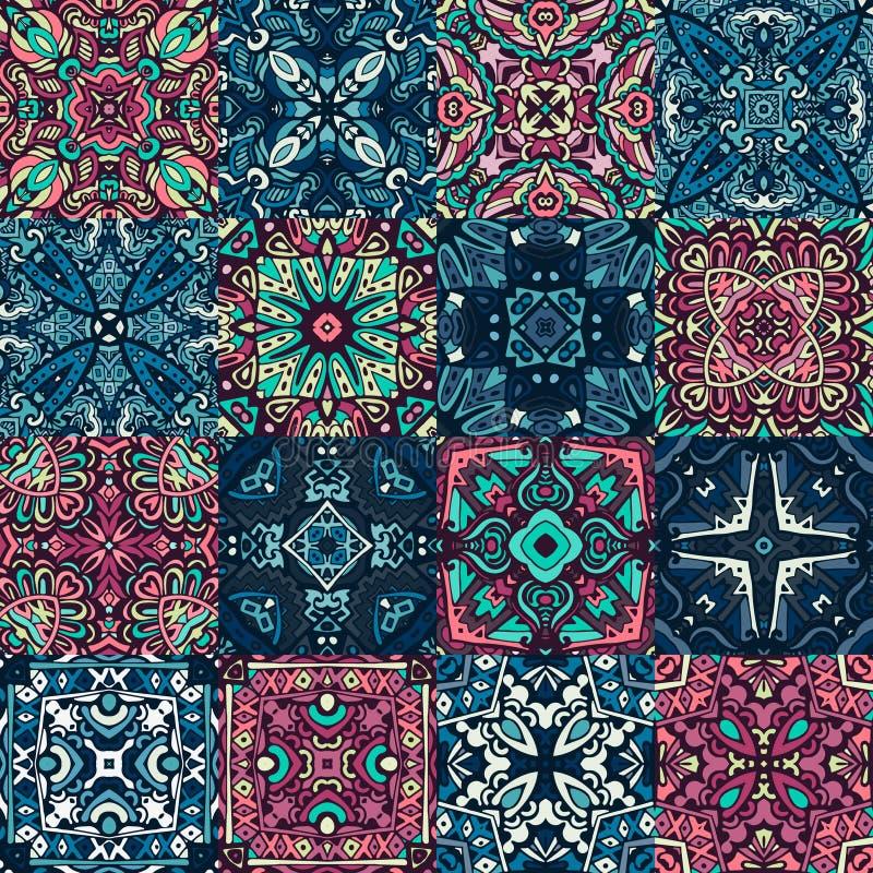 Nahtlose Musterzusammenfassungsfliesen für Wand und Boden stock abbildung