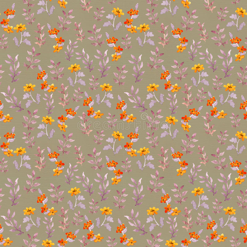 Nahtlose naive Blumenschablone Nette Blumen, Blätter auf braunem Hintergrund watercolor stock abbildung