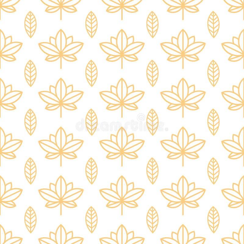 Nahtlose orange Tapete mit einem natürlichen Muster von Blättern in einer einfachen, unbedeutenden Art Gut für Tapete, verpackend stock abbildung