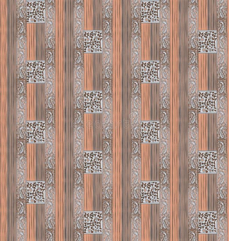 Nahtlose Paisley-Grenze mit Streifenhintergrund lizenzfreie abbildung