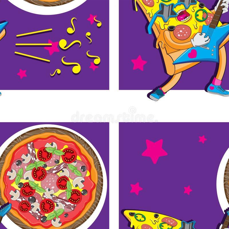 Nahtlose Pizzacharakterhintergrundgitarrennahrungsmittelsternanmerkungen Verpackenverpackungsfahnen-Netzgewebe Regenbogen und Wol stock abbildung