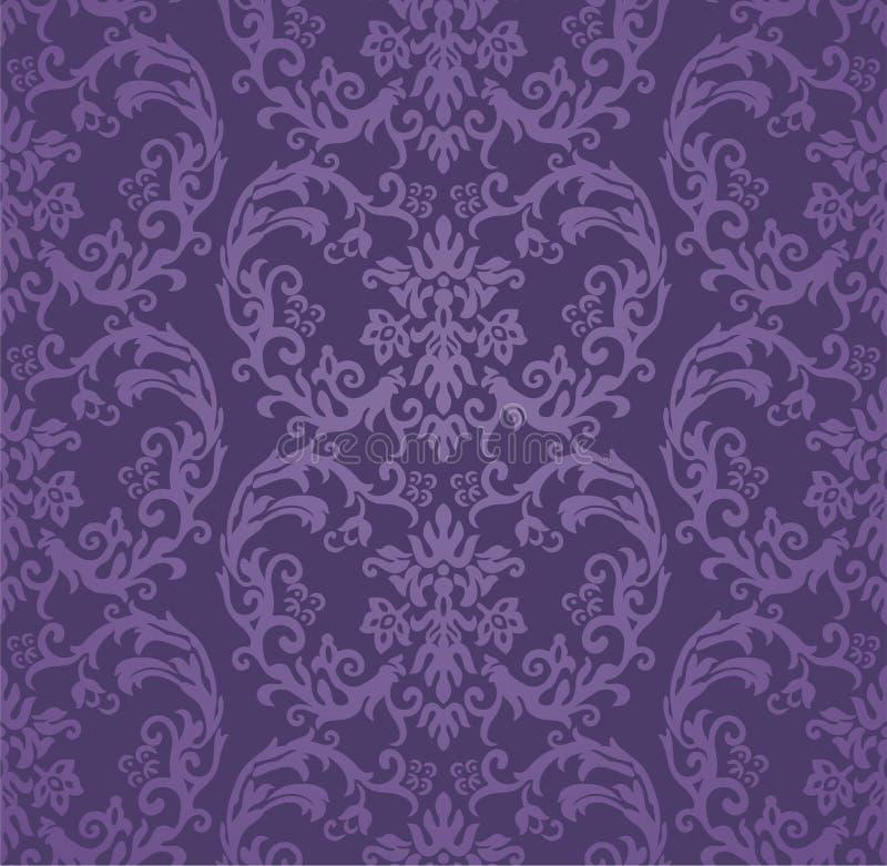 Nahtlose purpurrote Blumendamastluxustapete vektor abbildung